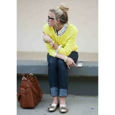 yellow sweater gold loafers