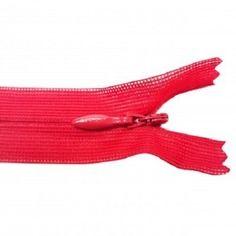 Fermeture invisible -  20-23 cm - rouge -  non séparable