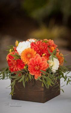 Orange wedding flowers. Orange Dahlias. Zest Floral and Event Design. www.zestfloral.com Hoddick Photography Orange Wedding Bouquets, Orange Wedding Decor, Orange Wedding Centerpieces, Autumn Wedding Flowers, Marigold Wedding, Orange Weddings, Fall Wedding Centerpieces, Orange Wedding Colors, Orange Flowers