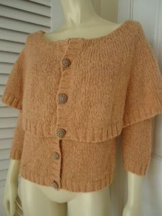HWR MONOGRAM ANTHROPOLOGIE Sz L Sweater Silk Mohair Blend Capelet Cardigan CHIC!