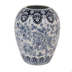 &k amsterdam Vaas Delfstblauw Porselein - 26 cm - afbeelding 1