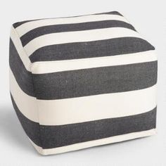 Square Black and White Awning Stripe Indoor Outdoor Pouf - cost plus world market Old Shutters Decor, Shutter Decor, Repurposed Shutters, Outdoor Pouf, Indoor Outdoor, Outdoor Decor, Outdoor Spaces, Outdoor Living, Outdoor Lounge