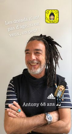 Antony is from Naples in Italy. He is 68 years ! Yes, it's true, and with his new look with #extensions #dreads , he look even much younger. That's the cool thing with wearing dreads. #locstyles #dreadlockhairstylesformen #hairstyles #dreadlockstyle Dreads, Dreadlock Hairstyles For Men, New Look, Cool Stuff, Hair Styles, Hair Plait Styles, Dreadlocks, Hair Makeup, Hairdos