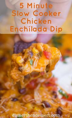 Slow Cooker Chicken Enchilada Dip takes just five minutes of prep with raw chicken, enchilada sauce and veggies topped with a bunch of deliciously melty cheddar cheese. Crock Pot Recipes, Crock Pot Dips, Slow Cooker Recipes, Cooking Recipes, Slow Cooking, Crockpot Meals, Dip Recipes, Casserole Recipes, Appetizer Recipes