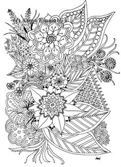 Floral printable coloring page