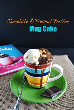Isn't this little mug calling your name, with the chocolate ooozing out the sides and a scoop of ice-cream with peanuts?