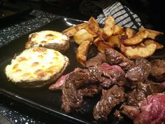 Korean Marinated Onglet Steak with Garlic and Herb Stuffed Mozerlla Mushrooms and Triple-Cooked Chips #TTDD