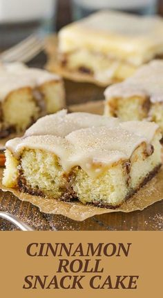 This Cinnamon Roll Snack Cake is a soft, gooey cinnamon roll in cake form! It's full of cinnamon, covered in icing and best served warm with a fresh glass of milk! Best Cake Recipes, Great Recipes, Dessert Recipes, Decorator Frosting, Icing Ingredients, Dessert Bars, Baking Ideas, Frostings, Cinnamon Rolls