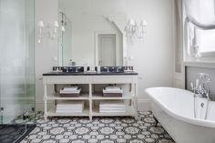 Moroccan theme bathroom with gray tiles