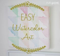 EasyWatercolorArt thumb Easy Watercolor Art Using Painter's Tape  This would be so cute in Kaylie's room!