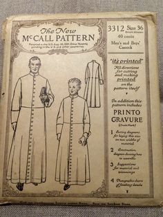 McCall's pattern for Men's and Boy's Cassock, 1900's