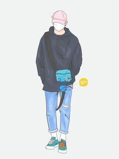 Boy Illustration, Character Illustration, Kawaii Doodles, Handsome Anime, Girl And Dog, Kpop Fanart, Boy Art, Anime Art Girl, Cute Drawings