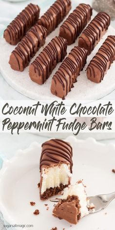 These wonderful fudge bars have a chocolate cookie base, white peppermint fudge and peppermint coconut ice – 3 easy layers wrapped in chocolate. #fudgebars #peppermint fudge via @sugarsaltmagic