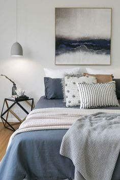 Modern Scandinavian Farmhouse Style Bedrooms – Pickled Barrel Modern Scandinavian Farmhouse Style Bedroom with Grayish Blue Bedding, Knit Throws, and Pillows and Artwork That Tie The Look Together Farmhouse Style Bedrooms, Farmhouse Bedroom Decor, Farmhouse Style Kitchen, Modern Farmhouse Kitchens, Tuscan Bedroom, Farmhouse Artwork, Farmhouse Ideas, Farmhouse Chic, Blue Bedroom Decor
