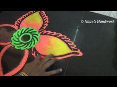 Flower Rangoli Design-Rangoli design with Colors By Nagu's Handwork - YouTube