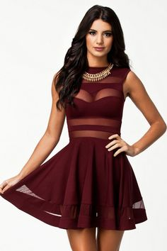 Mod Red Scoop Neck Mesh Panel Club Skater Dress #Clubdresses