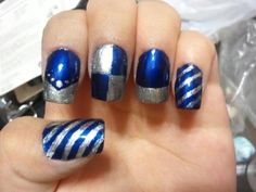 Ravenclaw nail art--change the silver to bronze...the index finger almost looks like a diadem