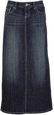 Contrast Stitch Denim Long Denim Skirt - Polyvore