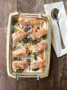 Laks i form med grønnsaker og fløte, 3 porsjoner 500-600 g laksefilêt 1 brokkoli 1 rødløk 1/2 purreløk 3 gulerøtter 3-4 dl matfløte salt og pepper Tilbehør: Kokt ris eller søtpotetmos anbefales Slik gjer du: Sett ovnen på 180 grader. Kutt grønnsakene i passelige biter og ha over i en ildfast form. Dryss over litt salt og pepper og hell over matfløten. Ønsker du ekstra smak kan du f.eks tilsette litt finhakka kvitløk og chili. Fish Dishes, Main Dishes, Norwegian Food, Norwegian Recipes, Cooking Recipes, Healthy Recipes, Healthy Food, Eating Plans, Fish And Seafood