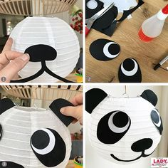 DIY: Dieren Lampion voor Sint Maarten - All For Decoration Panda Themed Party, Panda Birthday Party, Panda Party, Bear Party, Mason Jar Crafts, Mason Jar Diy, Diy For Kids, Crafts For Kids, Crafts Toddlers