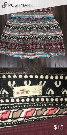 Cute Hollister patterned skirt! Worn once, perfect condition! Cute soft material skirt. Hollister Skirts Mini