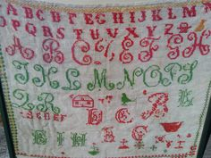 Large Victorian Alphatet sampler French cotton tulle red and green hand…