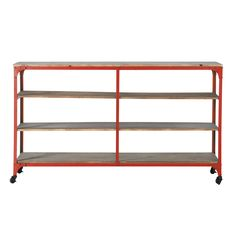 Red industrial side table/shelf, large BROOKLYN