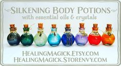 Silkening Body Potions,now available in HealingMagick.Etsy.com and HealingMagick.Storenvy.com.  Potions are a mix of 100% natural oils with essential oils, micas and crystals. They can be applied directly to the body or to a warm bath,to bring the potion's energies within. Rub onto candles, crystals or amulets to bring about specific magical goals!  Healing Magick ******** http://Facebook.com/HealingMagick http://Twitter.com/HealingMagick http://Pinterest.com/HealingMagick…