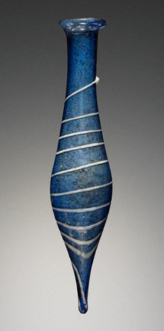 Blue Perfume Flask / Unknown : Blue Perfume Flask with a White Trail, Roman, A.D.