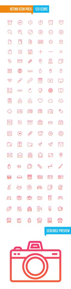 Retina Icon Pack (120 Icons) PSD, pixel perfect. Following Apple's iOS7. By Darius Dan