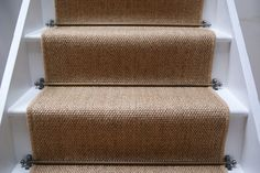 Sisal Carpet Stairs Carpet for stairs design Painted Stairs, Wood Stairs, House Stairs, Carpet Stairs, Stair Carpet Runner, Carpet Runners For Stairs, Stair Carpet Rods, Stairway Carpet, Cottage Stairs