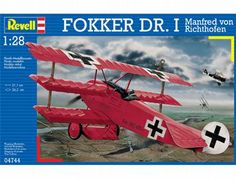 The Revell 1/28 Fokker Dr.I Richthofen plastic aircraft model accurately recreates the real life fighter triplane flown by the famous Red Baron during World War I. This plastic aircraft kit requires paint and glue to complete.