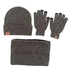Winter 3 Pieces Set Knitted Hat Glove Scarf For Men