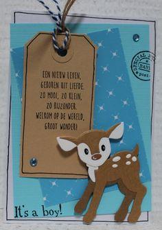 Gemaakt door Joke # geboortekaartje met hertje - zoon