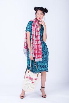 Summer dress in viscose by Emporium Hanoi; 100% Cambodian silk scarf