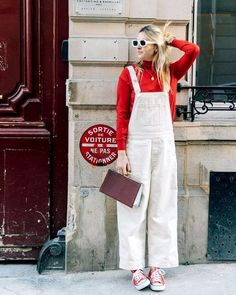 How to style overalls this summer street style одежда, летня Sneakers Fashion Outfits, Chic Outfits, Summer Outfits, Red Sneakers Outfit, Pretty Outfits, White Overalls, Denim Overalls, Dungarees, Jean Top