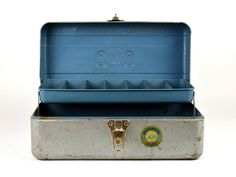 Old Metal Tool Box Industrial Art Supply Storage by ZintageArchive