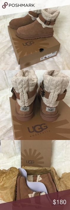 NWT CASSIDEE UGG AUSTRALIA • short uggs Never been worn. Beautiful knit top with adjustable buckles on the side. Comes with original ugg box. Size 8. Chestnut color. UGG Shoes Ankle Boots & Booties