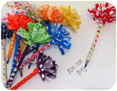 """Pom Pom Pens (could easily be done with duck tape instead of fabric). -- """"messy pens"""""""