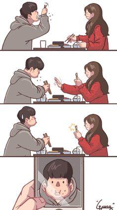 Funny cute cartoon smile Ideas for 2019 Cute Couple Comics, Couples Comics, Cute Couple Art, Couple Cartoon, Cute Comics, Funny Couples, Funny Comics, Anime Couples, Girls Manga
