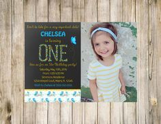 Alice in Wonderland Birthday Invitation Chalkboard First Photo Flowers picture Digital Gold Glitter 1st Sparkles Invite Butterfly Printable by clsprints on Etsy