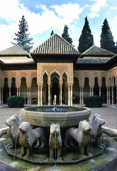 I Love Spanish Moorish Design.  This is Court of Lions. Alhambra. 1362-1391. Granada, Spain. Moorish Design.  Spanish Moorish Design is a style of Spanish architecture of the 8th to the 16th century, characterized by the horseshoe arch and ornate decoration.