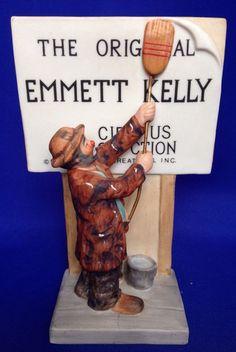 The Original Emmett Kelly Circus Collection Porcelain Clown Figurine 1987 Sign Emmett Kelly Clown, H Samuel, Send In The Clowns, Selling On Ebay, Vintage Toys, Porcelain Doll, Dolls, Dodgers, Jr