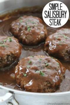 Simple Salisbury Steak – perfect weeknight recipe idea to serve the family. Add … Simple Salisbury Steak – perfect weeknight recipe idea to serve the family. Add in some mashed potatoes and your favorite veggies for the ultimate comfort food Steak Dinner Recipes, Beef Steak Recipes, Salisbury Steak Recipes, Beef Tips, Crockpot Salisbury Steak, Easy Hamburger Meat Recipes, Salisbury Steak Meatballs, Salisbury Steak Recipe With Brown Gravy Mix, Chicken Recipes