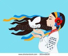 Prayer for peace in Ukraine. The girl in the Ukrainian costume prays for peace in Ukraine - stock vector