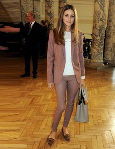Olivia Palermo wearing Reiss Laurel Oak blazer and Carrie Leather leggings, as she arrives at the Anya Hindmarch presentation SS14, London F...