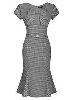 Miusol® Women's Vintage Houndstooth-Print Bow Slim Retro Evening Dress, http://www.amazon.com/dp/B00YOEITMY/ref=cm_sw_r_pi_awdm_f2tRvb08N6672