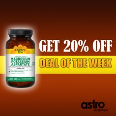 Get 20% Off Of Country Life's Target-Mins - Magnesium Potassium Aspartate - 180 tabs with Coupon code: CL20  #Coupon #Discount #supplements #nutrition