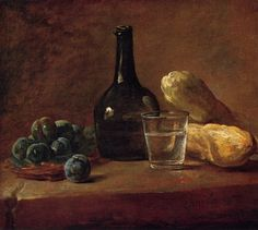 Still Life with Plums, 1730 Chardin, Jean- Baptiste Simeon Painting Reproductions