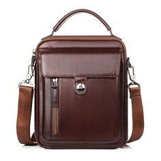 Sale 17% (64.77$) - Men Business Genuine Leather Crossbody Bag Vintage Casual Shoulder Bag